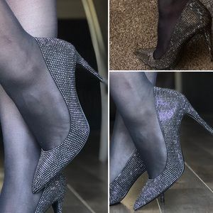 Rhinestones classy elegant dressy black heels